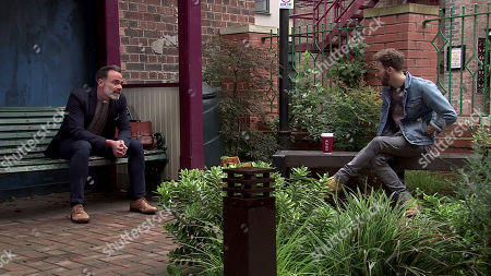 Coronation Street - Ep 10133 Monday 5th October 2020 - 1st Ep Billy Mayhew, as played by Daniel Brocklebank, confides in David Platt, as played by Jack P Shepherd, that he's worried Paul is taking on too much with the helpline.