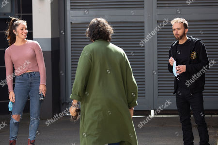 Coronation Street - Ep 10143 & Ep 10144 Friday 16th October 2020  A model, Hugo, as played by Declan O'Connor, arrives in need of an emergency haircut but Shona Platt, as played by Julia Goulding, takes an instant dislike to him and when David Platt's, as played by Jack P Shepherd, back is turned he's horrified to discover Shona has shaved off Hugo's topknot!
