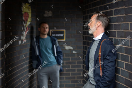 Stock Image of Coronation Street - Ep 10143 & Ep 10144 Friday 16th October 2020  Billy Mayhew, as played by Daniel Brocklebank, reveals to Paul Foreman, as played by Peter Ash, how the bishop has recommended he apply for the position of archdeacon. Paul's delighted for him.