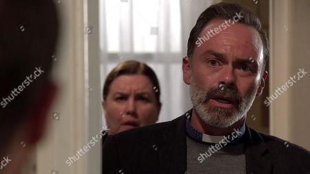 Coronation Street - Ep 10145 Monday 19th October 2020 When Todd Grimshaw suddenly appears at the top of the stairs, Mary Taylor, as played by Patti Clare, and Billy Mayhew, as played by Daniel Brocklebank, stare open mouthed.