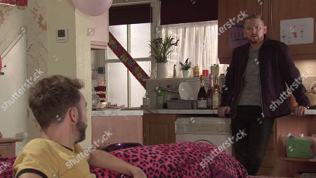Coronation Street - Ep 10141 Wednesday 14th October 2020 - 1st Ep Surveying David Platt's, as played by Jack P Shepherd, sinkhole, Gary Windass, as played by Mikey North, offers to put him in touch with a specialist company but when David lets slip how Ray offered to buy the house, Gary's mind is a whir.