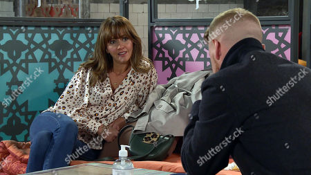 Coronation Street - Ep 10140 Monday 12th October 2020 - 2nd Ep Maria Windass, as played by Samia Longchambon, urges Gary Windass, as played by Mikey North, to accept Ray's offer as it would mean she could buy the barber shop.
