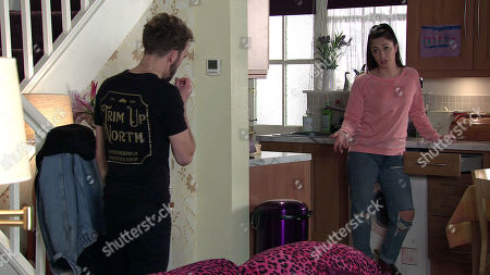 Coronation Street - Ep 10148 Wednesday 21st October 2020 - 2nd Ep Shona Platt, as played by Julia Goulding, assures David Platt, as played by Jack P Shepherd, she's not bothered if he sells the house so long as she's with him.