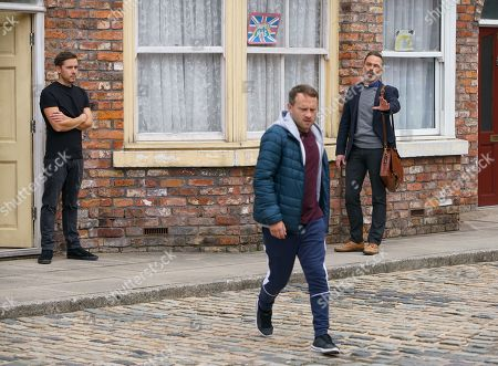 Coronation Street - Ep 10146 Monday 19th October 2020 - 2nd Ep As the commotion escalates Paul Foreman, as played by Peter Ash, heads over and Todd Grimshaw, as played by Gareth Pierce, seizes the opportunity to cause trouble between Paul and Billy Mayhew, as played by Daniel Brocklebank.