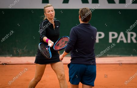Demi Schuurs of the Netherlands & Kveta Peschke of the Czech Republic in action during the third doubles round at the 2020 Roland Garros Grand Slam tennis tournament