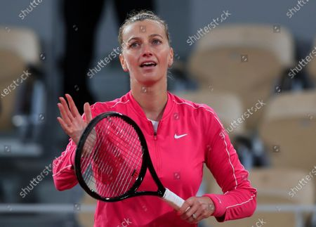 Petra Kvitova of the Czech Republic celebrates winning her fourth round match of the French Open tennis tournament against China's Zhang Shuai in two sets 6-2, 6-4, at the Roland Garros stadium in Paris, France
