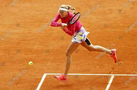 Petra Kvitova of the Czech Republic hits a backhand during her 4th round match against Zhang Shuai China at the French Open tennis tournament at Roland Garros in Paris, France, 05 October 2020.