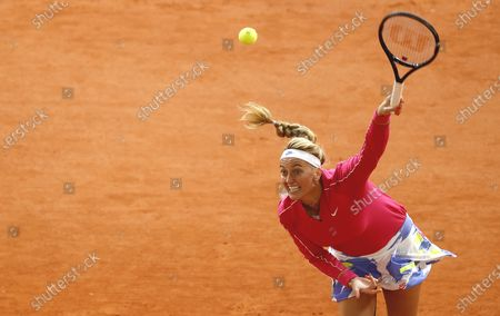 Petra Kvitova of the Czech Republic serves during her 4th round match against Zhang Shuai China at the French Open tennis tournament at Roland Garros in Paris, France, 05 October 2020.