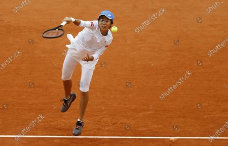 Zhang Shuai China serves during her 4th round match against Petra Kvitova of the Czech Republic at the French Open tennis tournament at Roland Garros in Paris, France, 05 October 2020.