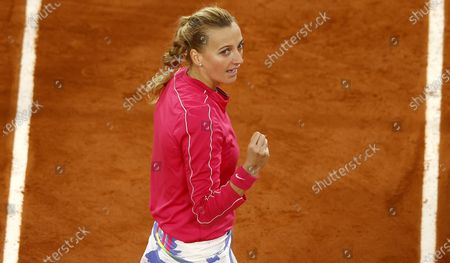 Petra Kvitova of the Czech Republic celebrates after winning her 4th round match against Zhang Shuai China at the French Open tennis tournament at Roland Garros in Paris, France, 05 October 2020.