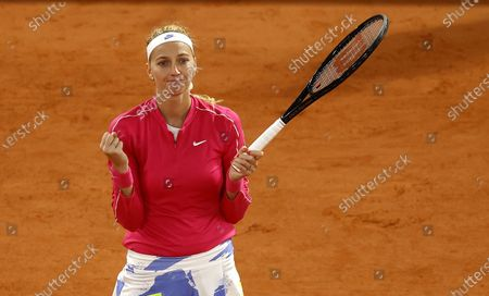 Petra Kvitova of the Czech Republic celebrates a point during her 4th round match against Zhang Shuai China at the French Open tennis tournament at Roland Garros in Paris, France, 05 October 2020.
