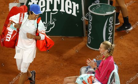 Petra Kvitova (R) of the Czech Republic applauds her opponent Zhang Shuai China after their 4th round match at the French Open tennis tournament at Roland Garros in Paris, France, 05 October 2020. Kvitova won in two sets, 6-2, 6-4.