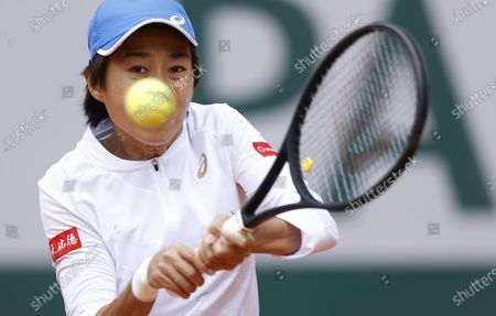 Zhang Shuai China hits a backhand during her 4th round match against Petra Kvitova of the Czech Republic at the French Open tennis tournament at Roland Garros in Paris, France, 05 October 2020.