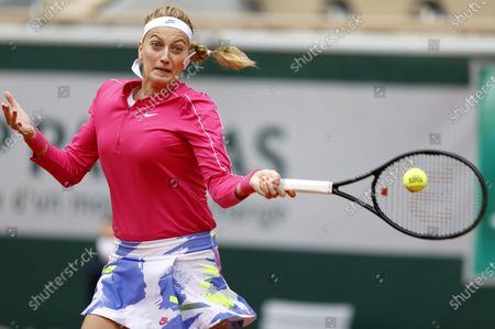 Petra Kvitova of the Czech Republic hits a forehand during her 4th round match against  Zhang Shuai China at the French Open tennis tournament at Roland Garros in Paris, France, 05 October 2020.