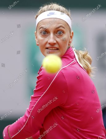 Petra Kvitova of the Czech Republic eyes the ball during her 4th round match against Zhang Shuai China at the French Open tennis tournament at Roland Garros in Paris, France, 05 October 2020.