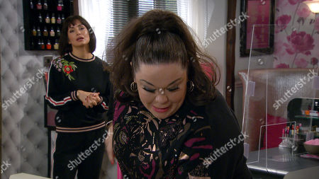 Emmerdale - Ep 8860 Tuesday 13th October 2020 Leyla Harding, as played by Rokhsaneh Ghawam-Shahidi, is shocked when Mandy Dingle, as played by Lisa Riley, reveals Bernice has given them both until 2:30 tomorrow to get the salon money together and that whoever gets it first, will get the lease.