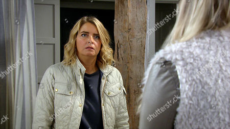 Emmerdale - Ep 8859 Monday 12th October 2020 Charity Dingle's, as played by Emma Atkins, relationship paranoia subsides when she has a virtual romantic anniversary meal with Vanessa Woodfield, as played by Michelle Hardwick, (a mannequin with a tablet stuck to its head and Vanessa's face on the screen).
