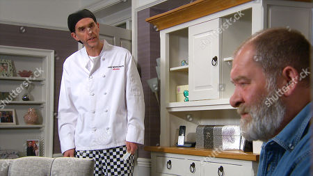 Emmerdale - Ep 8861 Wednesday 14th October 2020 Marlon Dingle's, as played by Mark Charnock, shocked when Bear Wolf, as played by Joshua Richards, tells him Chas was caught flirting with Al.