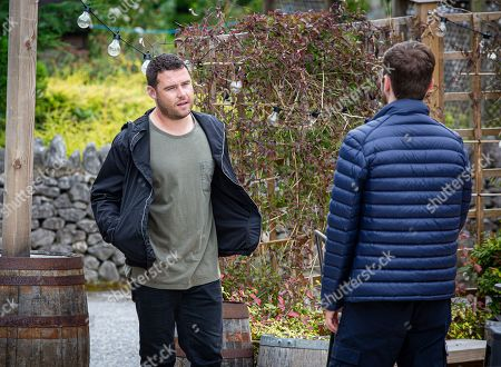 Emmerdale - Ep 8861 Wednesday 14th October 2020 Aaron Dingle, as played by Danny Miller, has an altercation with Ben's friend and leaves but Ben, as played by Simon Lennon, is unaware why.