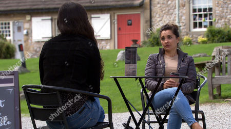 Emmerdale - Ep 8853 Monday 5th October 2020 Meena's, as played by Paige Sandhu, attempt to build bridges quickly sours and Manpreet Sharma, as played by Rebecca Sarker, storms off.