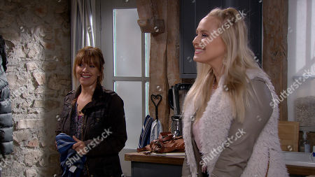 Emmerdale - Ep 8859 Monday 12th October 2020 Charity Dingle's relationship paranoia subsides when she has a virtual romantic anniversary meal with Vanessa Woodfield (a mannequin with a tablet stuck to its head and Vanessa's face on the screen). With Rhona Goskirk, as played by Zoe Henry, Tracy Shankley, as played by Amy Walsh.