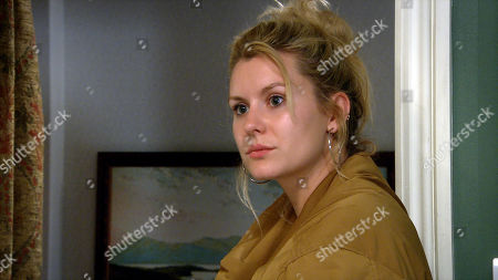 Emmerdale - Ep 8858 Friday 9th October 2020 Dawn Taylor, as played by Olivia Bromley, is panicked and makes a cruel move.