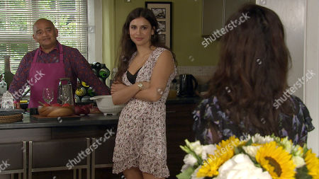 Emmerdale - Ep 8854 & Ep 8855 Tuesday 6th October 2020 Meena, as played by Paige Sandhu, is turning her charms to Rishi Sharma, as played by Bhasker Patel, who enjoys the attention as she opens up about her life and an uneasy Manpreet Sharma, as played by Rebecca Sarker, worries about the closeness developing between them.