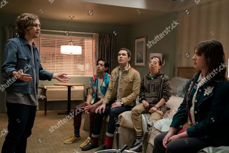 Stock Picture of Logan Miller as Logan, Pablo Castelblanco as Jeff, Michael Sturgis as John, Kenton Chen as Billy and Hari Nef as Katherine