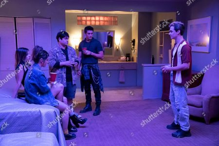 Stock Photo of Alison Jaye as Morgan, Olivia Crocicchia as Jenna, Harvey Guillen as Luke, Timothy Granaderos as Hunter and Benjamin Papac as Jack