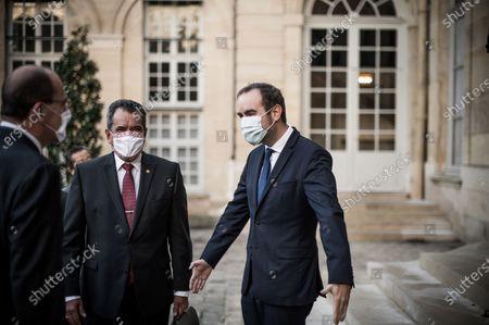 Edouard Fritch and Sebastien Lecornu at Hotel de Matignon