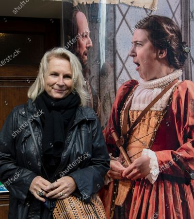 English comedian, screenwriter, singer and actress Jennifer Saunders (L) joins an actor for a 'two minute silent stand' on behalf of the theatre industry in the United Kingdom, outside the Gielgud Theatre in London, Britain, 05 October 2020. Many workers in Britain's theatre industry reportedly have lost their jobs and are not receiving any financial support from the government.