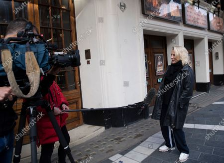 Stock Image of English comedian, screenwriter, singer and actress Jennifer Saunders is interviewed as she joins a 'two minute silent stand' on behalf of the theatre industry in the United Kingdom, outside the Gielgud Theatre in London, Britain, 05 October 2020. Many workers in Britain's theatre industry reportedly have lost their jobs and are not receiving any financial support from the government.