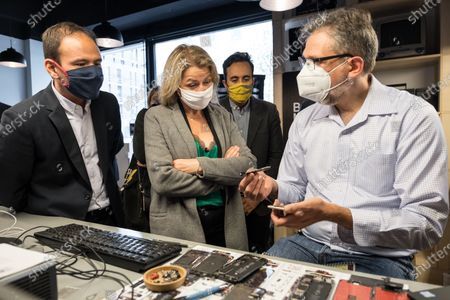Editorial photo of BackMarket local visit with Barbara Pompili and Cedric O, Paris, France - 05 Oct 2020