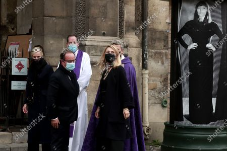 French former president Francois Hollande (L) and partner French producer and actress Julie Gayet (R) attend the funeral ceremony of French singer Juliette Greco at the Saint-Germain-des-Pres church in Paris, France, 05 October 2020. Juliette Greco died at the age of 93 on 23 September 2020.