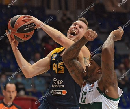 Euroleague Basketball. Khimki (Khimki, Russia) vs Panathinaikos (Greece, Athens) in the Arena Mytishchi sports complex. Dairis Bertans of Khimki (left) and Marcus Foster of Panathinaikos (right) during the match