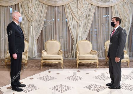 Stock Photo of Tunisian President Kais Saied (L) meets with US Defence Secretary Mark Esper, (R) both mask-clad due to the COVID-19 coronavirus pandemic, in Carthage Palace