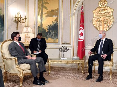 Tunisian President Kais Saied (R) meets with US Defence Secretary Mark Esper, (L) both mask-clad due to the COVID-19 coronavirus pandemic, in Carthage Palace
