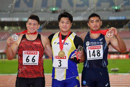 (L-R) Masateru Yugami, Yuji Tsutsumi, Shinichi Yukinaga - Athletics : The 104th Japan Track & Field National Championships Men's Discus Throw Award Ceremony