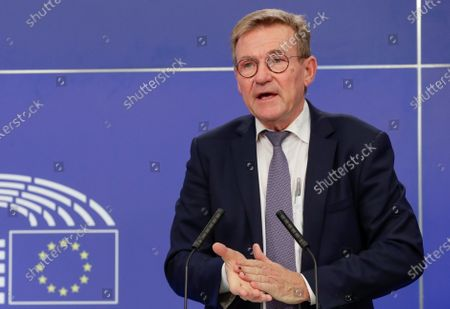 Johan Van Overtveldt, Chair of the Committee on Budgets gives a press conference on the outcome of the latest negotiating round on the Multiannual Financial Framework (MFF) and Own Resources (OR) at the European Parliament in Brussels, Belgium, 05 October 2020.