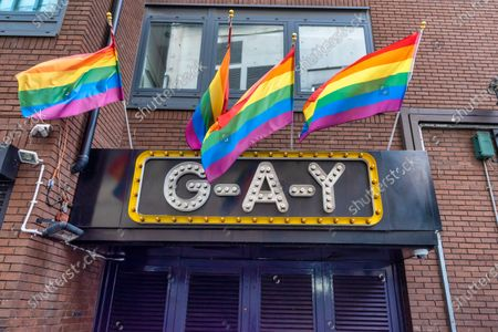 "Stock Picture of A G-A-Y sign and pride flags are seen outside owner the G-A-Y bar in London. G-A-Y owner Jeremy Joseph launches legal challenge against the Government's 10pm curfew, he said, ""The 10pm curfew which has now been in place for the last two weeks and has been detrimental to the hospitality sector, including G-A-Y, makes absolutely no sense.  The club owner claims the measures make a ""scapegoat"" of the night time economy and are ""unsafe"" for punters and thus has instructed his legal teams at Simpson Miller Solicitors and Kings Chambers to challenge them."