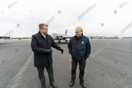 Stock Photo of Defence Minister of Finland Antti Kaikkonen with his Swedish counterpart Peter Hultqvist (R) meets during The Ruska 20 air operations exercise on October 5, 2020 in Rovaniemi, Finland.