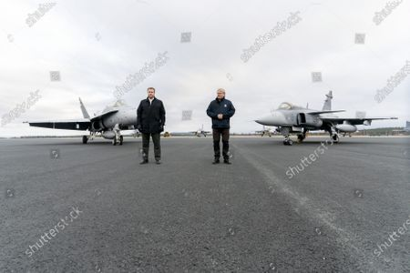 Stock Image of Defence Minister of Finland Antti Kaikkonen with his Swedish counterpart Peter Hultqvist (R) meets during The Ruska 20 air operations exercise on October 5, 2020 in Rovaniemi, Finland.