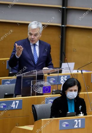 European Commissioner for Justice Didier Reynders (L) delivers a speech on the Establishment of an EU Mechanism on Democracy, the Rule of Law and Fundamental Rights next to European Commissioner for Values and Transparency Vera Jourova (R) during a plenary session at the European Parliament in Brussels, Belgium, 05 October 2020.