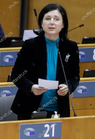 European Commissioner for Values and Transparency Vera Jourova delivers a speech on the Establishment of an EU Mechanism on Democracy, the Rule of Law and Fundamental Rights during a plenary session at the European Parliament in Brussels, Belgium, 05 October 2020.