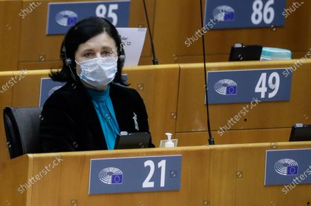 European Commissioner for Values and Transparency Vera Jourova attends a session on the Establishment of an EU Mechanism on Democracy, the Rule of Law and Fundamental Rights during a plenary session at the European Parliament in Brussels, Belgium, 05 October 2020.