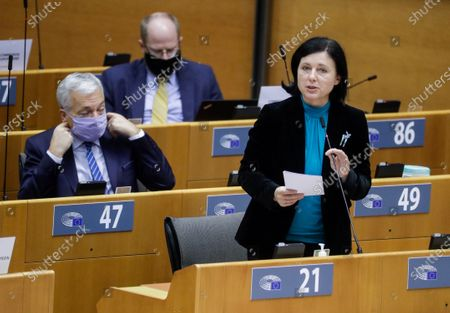 European Commissioner for Values and Transparency Vera Jourova (R) delivers a speech on the Establishment of an EU Mechanism on Democracy, the Rule of Law and Fundamental Rights during a plenary session at the European Parliament in Brussels, Belgium, 05 October 2020.