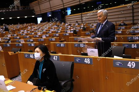European Commissioner for Justice Didier Reynders (R) addresses European lawmakers on the Establishment of an EU Mechanism on Democracy, the Rule of Law and Fundamental Rights next to European Commissioner for Values and Transparency Vera Jourova (L)  during a plenary session at the European Parliament in Brussels, Belgium, 05 October 2020.