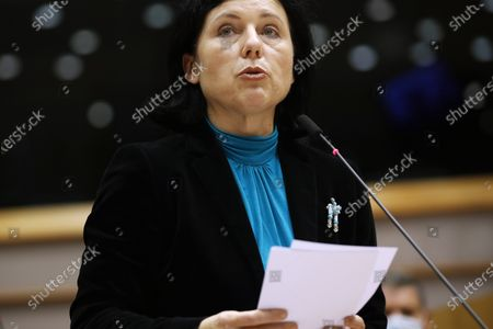 European Commissioner for Values and Transparency Vera Jourova addresses European lawmakers on the Establishment of an EU Mechanism on Democracy, the Rule of Law and Fundamental Rights during a plenary session at the European Parliament in Brussels, Belgium, 05 October 2020.