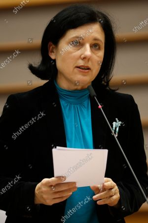 Stock Photo of European Commissioner for Values and Transparency Vera Jourova addresses European lawmakers on the Establishment of an EU Mechanism on Democracy, the Rule of Law and Fundamental Rights during a plenary session at the European Parliament in Brussels, Belgium, 05 October 2020.
