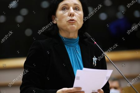 European Commissioner for Values and Transparency Vera Jourova addresses European lawmakers during a plenary session at the European Parliament in Brussels